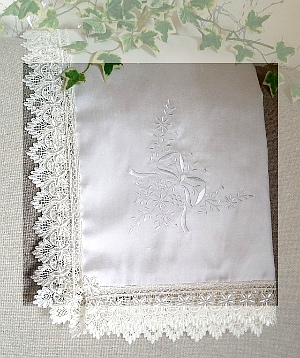 Baptism blanket in ivory silk