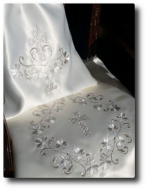 Satin shawl and pouch