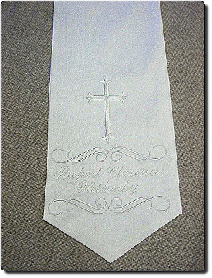 Baptism stole in white silk