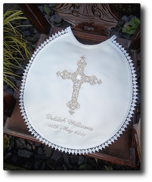 Baptism Bib With Royal Cross