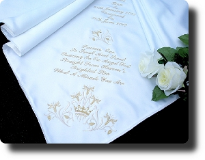 Ivory Satin fabric with Crown Corner Design