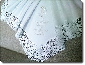 Warm baby Baptism blanket with intricate lace