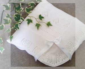 Extra Large Hearts and Bows white knitted baby Christening shawl