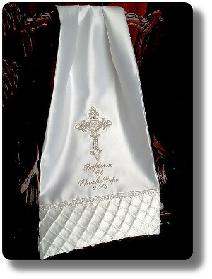 Personalised Baptism rectangular shawl for an older child