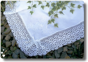 Traditional Linen baby blanket with white personalisation