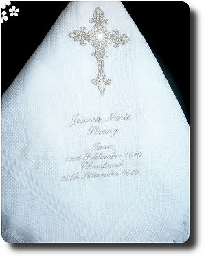Warm white Baptism blanket