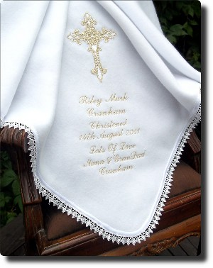 White Fleece Baptism Blanket
