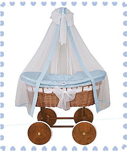 Cradle Crib (Blue option) - natural wicker