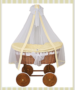Crib cradle (cream/yellow option) natural wicker