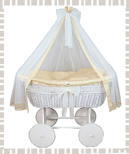 Stunning White baby crib option with cream bedding