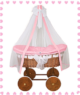 Cradle Crib (pink option) natural wicker