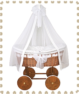 Cradle crib (white option) natural wicker