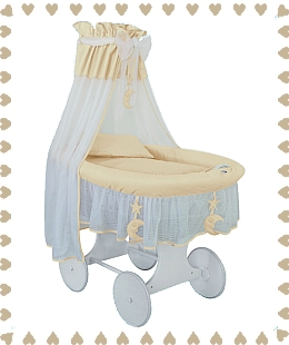 Crib Cradle (Silent Night) in cream/yellow