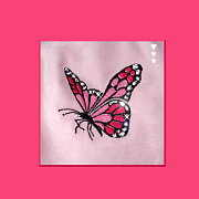 Girls Footmuff pink with butterfly design