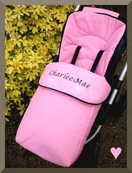 Baby or Toddler Pink Personalised Footmuff / Cosy toes