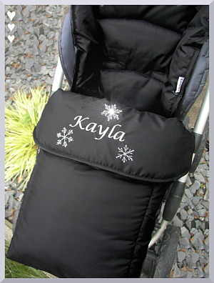 Pushchair Footmuff in black with snowflake