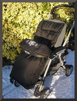 Black Footmuff on Mamas and Papas pushchair