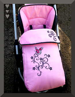 Pink Footmuff Butterfly with Scroll