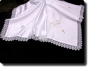 Baptism shawl satin with guipure trim