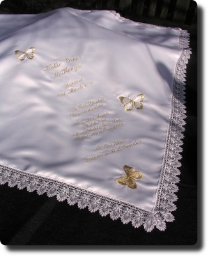 Ivory Baptism shawl with gold Butterflies