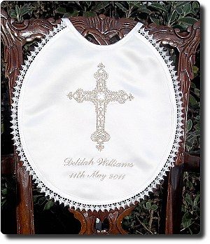Christening/Baptism bib with Royal cross and rhinestones