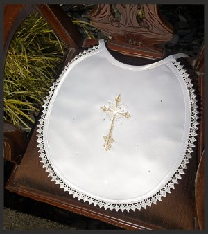 Baby Bib With Gold Star Cross