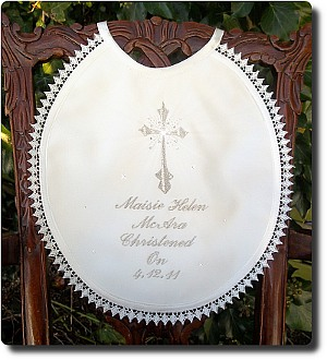 Christening/Baptism bib with Star cross and rhinestones