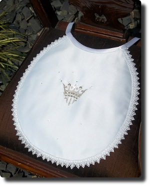 Baby Bib with Silver Crown