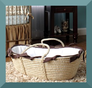 Natural and brown moses basket