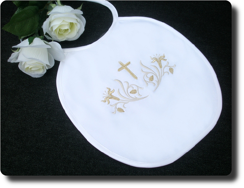 Christening/Baptism personalised with cross bib.