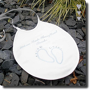Christening Bib with Sparkling Feet Design