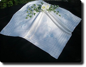 Cream Christening blanket with blue embroidery