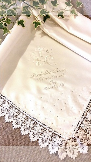 Traditional yet modern Baptism shawl