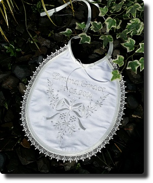 Cream silk personalized bib