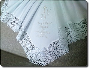 Baptism blanket with wide lace