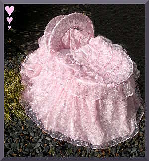 Pink embroidered organza moses basket