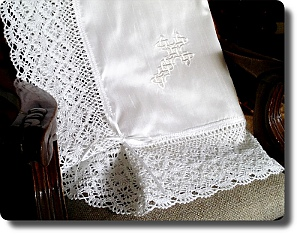 White silk baby blessing blanket with traditional lace