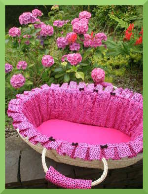 Hot pink with black spots baby Moses Basket