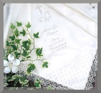 Christening satin or silk shawl with Celtic design.