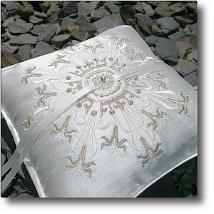 Pale gold Crown design silk wedding ring pillow