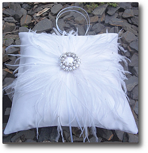 Satin with ostrich feather cushion