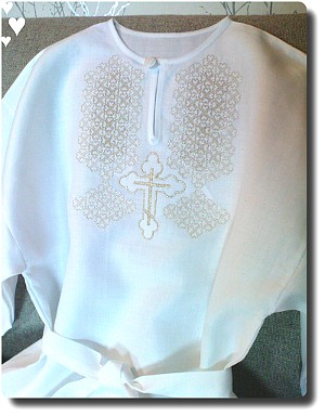 Traditional Russian Linen Christening Robe for older boy / adult