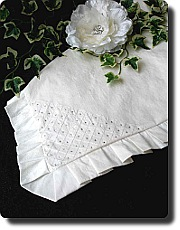 Baptism blanket in ivory silk with rhinestone corner