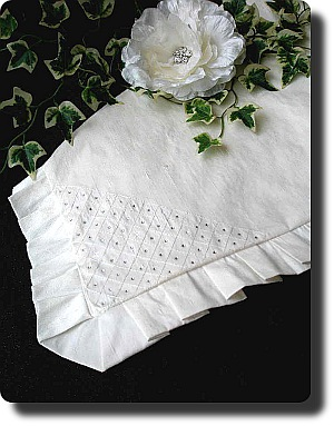 Baptism blanket in white satin with delicate organza trim. Gorgeous!