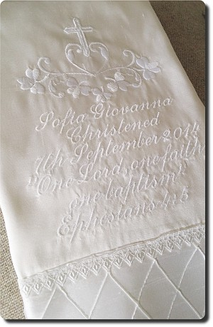 White silk baby Baptism blanket with pintuck trim