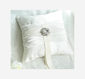 Silk dupion and silk velvet wedding cushion