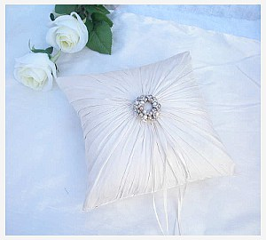Fabulous ivory silk gathered cushion