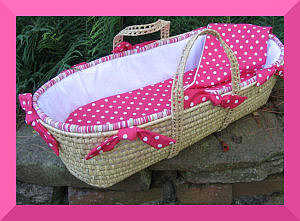 Strong pink cotton moses basket