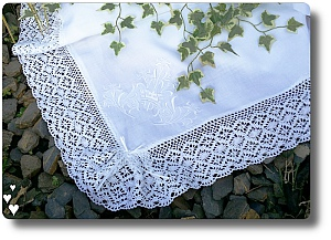 Traditional Baptism Linen Blanket for a Catholic Baptism