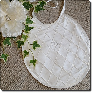 Ivory silk bib with Initial